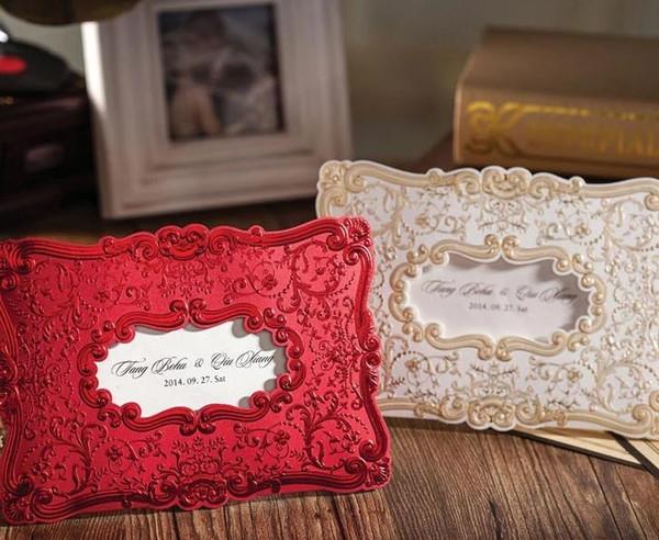 Biglietti per inviti di nozze Biglietti per inviti di nozze personalizzati Oro rosso Colori Inviti Biglietti di nozze Inviti con busta e sigillo
