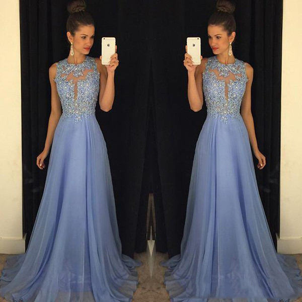 Elegant Evening Dresses Sheer Lace Corset Applique Beading Prom Gowns Chiffon Panels Open Back Sweep Train Custom Made Pageant Dress