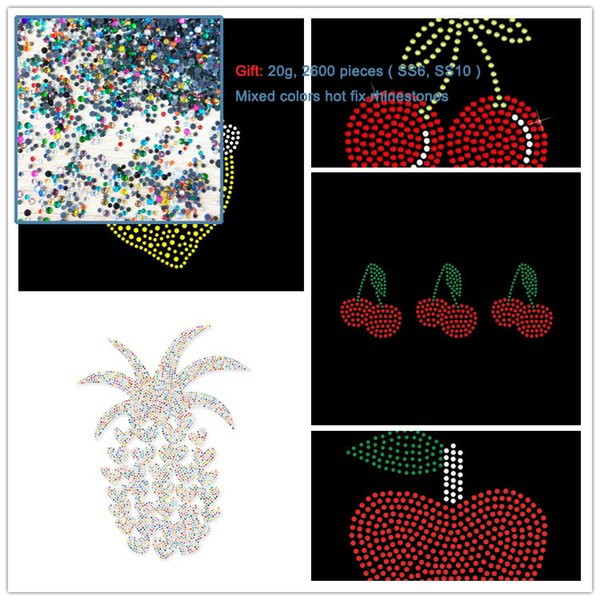 2pcs Cherry Lemon Strawberry Pineapple Apple Hot Fix Rhinestone Transfers Motif Hotfix Applique