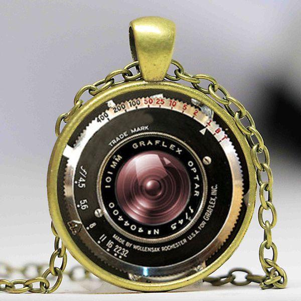 VINTAGE CAMERA Necklace PENDANT Antique Camera Lens Pendant Gray Black jewelry