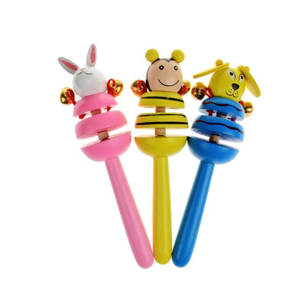 2017 Hot Sale Baby Wooden Toy Rattle Baby cute Rattle toys Orff musical instruments Educational Toys for Child