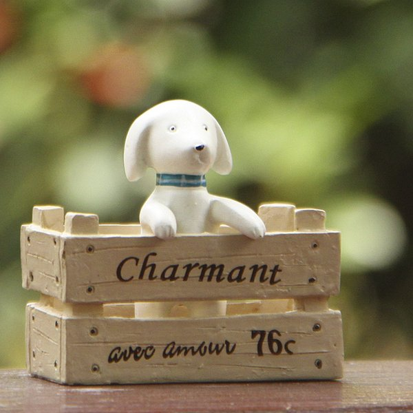 1pcs Pet Dog Figurines Fairy Garden Miniatures Resin Craft Terrarium Statue Bonsai Tools Gnomes Pot Zakka Dollhouse Toy Ornament