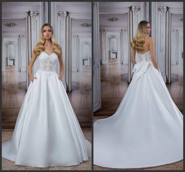 Pnina Tornai Sweetheart Ball Gown Satin Wedding Dresses With Pockets ...