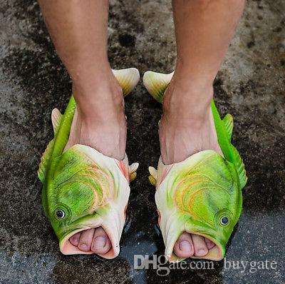 Dhl Emulational Fish Style Nice Creative Fish Slippers Handmade Womens Mens Bass Sandals Evr Non-slip Beach Shoes Personality Fi