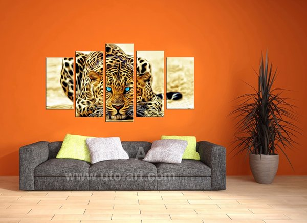 Modern Unframed Modular Paintings on Canvas Art Panel of Cheetah Leopard 5 Piece Canvas Art Photo Wall Pictures for Living Room