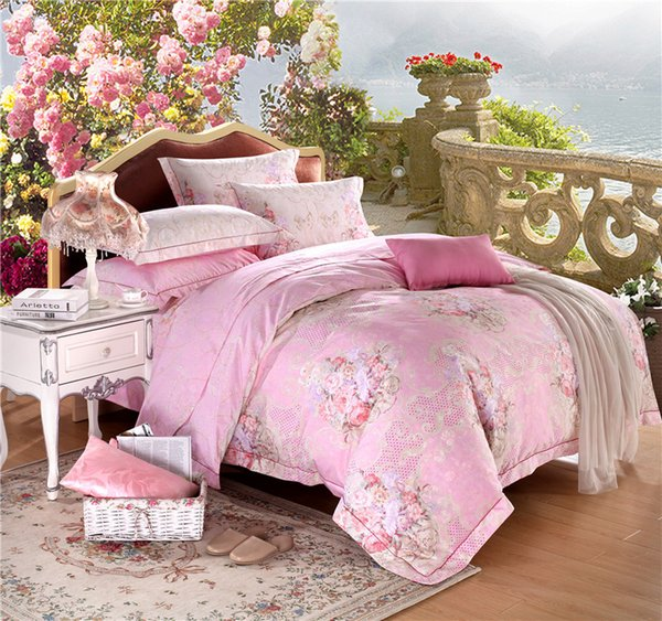 Hot sale 2017 Home textile American bedding cotton satin jacquard cotton quilt flower bed personality Pink Princess four piece