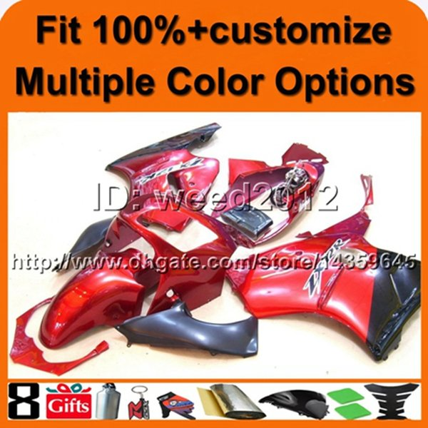 23colors + 8Gifts Abdeckung ROT ABS Verkleidung ZX12R 2000 2001 Motorrad Verkleidung Set für Kawasaki Ninja