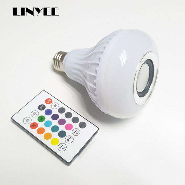 cheap E27 Smart RGB RGBW Wireless Bluetooth Speaker Bulb Music Playing Dimmable LED Bulb Light Lamp with 24 Keys Remote Control