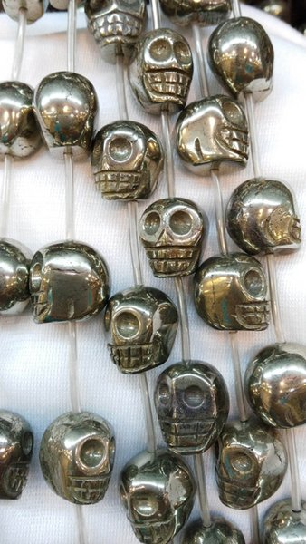 high quality genuine Raw pyrite stone skull skeleton carved iron gold jewelry pyrite bead 8 10 12 14 16mm full strand