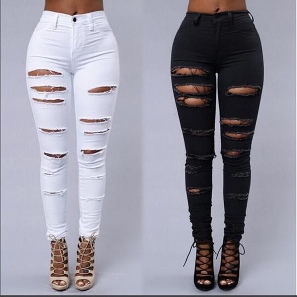 top popular 2019 New Jeans For women Boyfriend Pencil Skinny Denim Jeans Womens High Waist Ripped Black Jeans Big Girls Casual Legging Skinny trousers 2020