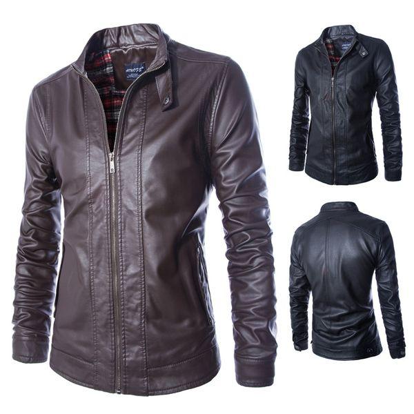 Fall-M-5XL Chaqueta locomotora para hombres Chaqueta de cuero para hombres chaquetas y abrigos ajustados de cuero para hombres Prendas de vestir de la mejor calidad Cuero de la PU