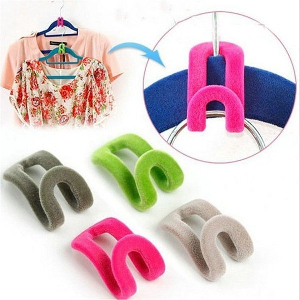 Wholesale- High Quality Creative Mini Flocking Clothes Hanger Easy Hook Closet Organizer 10pcs/lot Free Shipping