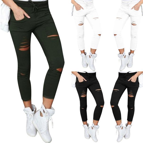 2017 algodón de alta elasticidad imitar pantalones vaqueros mujer pantalones pitillo flacos sólidos delgados pantalones vaqueros rasgados para mujer negro blanco pantalones rasgados XXL