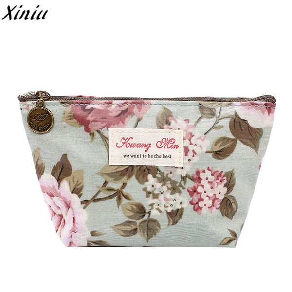 5e5156404fd41e Xiniu Vintage Floral Printed Cosmetic Bag Women Makeup Bags Travel Make Up  Pouch Coin Bag Estuches