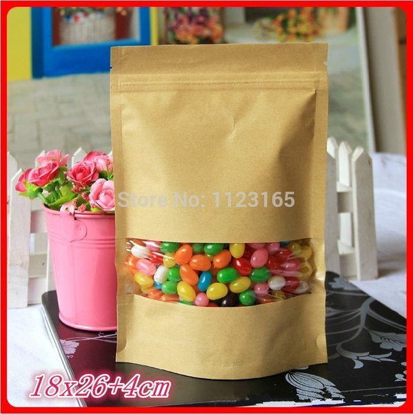 18*26+4cm, 100 X Stand up Kraft paper Zip Lock bag with window,Brown paper bag, Reclosable Doypack pouch zipper Grip self-sealed