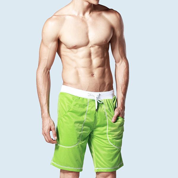 Venta al por mayor-Verano Hombres calientes de moda de bolsillo de la rodilla Longitud de la rodilla Pantalones cortos para hombre Cintura elástica Deportes Pantalones cortos Tamaño M L XL 2016 Nueva llegada