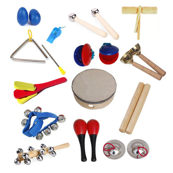 14 types Kids Preschool Early Education Toy Orff Musical Rhythm Percussion Instruments Set Kit
