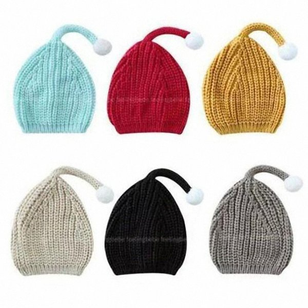 Long Tail Children Caps White Pompon Cute Wool Warm in Winter 6 Colors Solid color Elf Hat Kids Gifts DA006