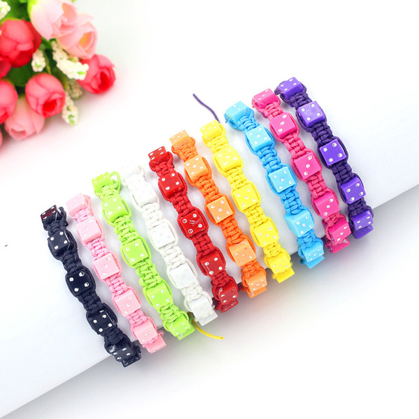 10 Colors Friendship Bracelet Handmade Square Dice Beads Bracelet Woven Friendship Bracelets For Girls and Boys