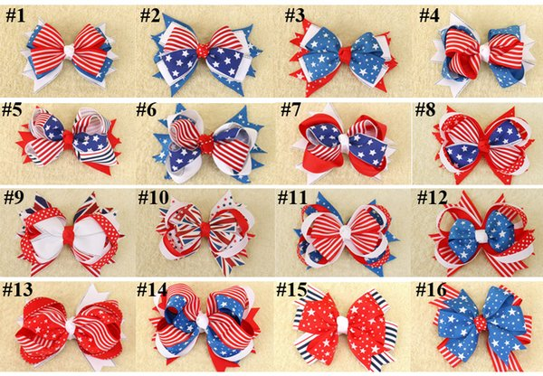 top popular DHL FREE the Stars and the Stripes Hair Clips the Union Jack Bow knot Barrettes for Kids Flag Hair Pins Girls Flag Hair Barrettes 16 colors 2019