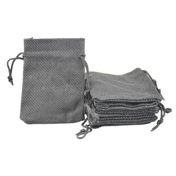 7x9cm Faux iuta Sacchetti di gioielli coulisse Candy perline piccoli sacchetti tela di lino tessuto in lino bianco sacchetti di imballaggio regalo riutilizzabile
