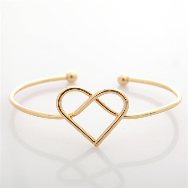 New Simple Design Gold Silver Plated 8 Infinity Heart Charm Delicate open Bracelet For Women Fashion JewelrySZ640