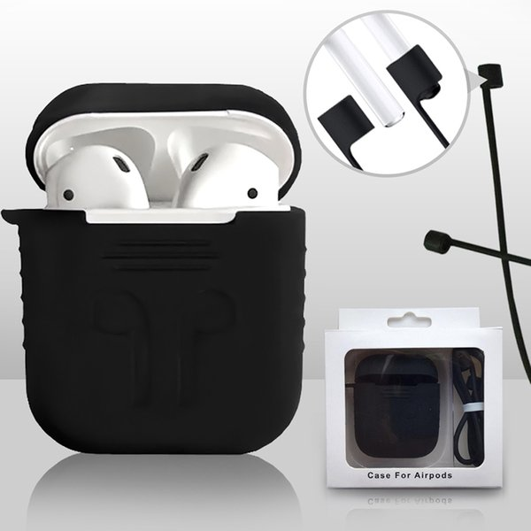 Funda protectora de silicona Link Link PodStraps para iPhone 7 Plus Airpod Auriculares inalámbricos Bluetooth Impermeable Anti-gota con caja al por menor