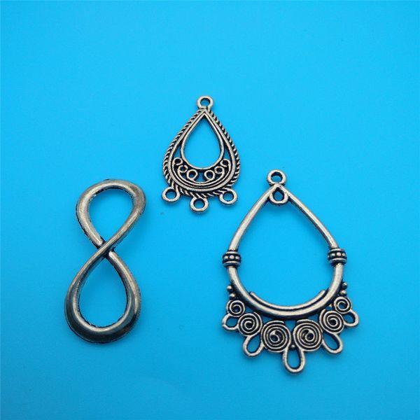 Conector chapado en plata tibetana mixta Lucky Eight Brand Charms Colgantes Fabricación de joyas Pulsera Collar Accesorios de joyería de moda DIY V11