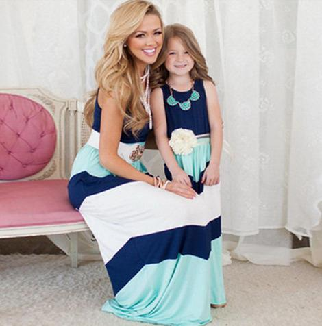 Quality mother and daughter clothes dress mother daughter matching dresses Girls slim sleeveless long dresses Kids Baby girl Sundress Beach