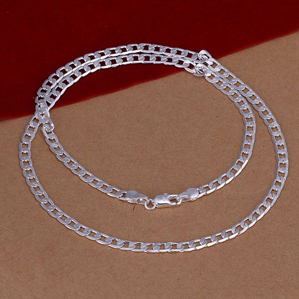 Men's Silver Plated Simple Classic Design 4MM Multi-sizes Necklace Geometric Sideways 925 Sterling Silver Chain Fashion Jewelry Making