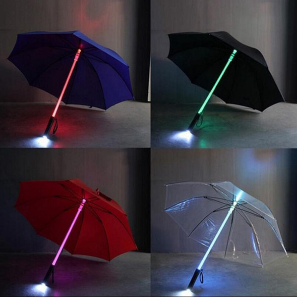 LED Light Rain Umbrella LED Light Flash Umbrella Light Saber Umbrella Safety Fun Blade Runner Night Protection 4 Colors 50pcs OOA2581