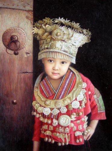 Minority Lovely Beautiful Chinese Hmong girl Dressed up Hand-painted /HD Print Portrait Art Oil painting On Canvas, Mulit sizes customized