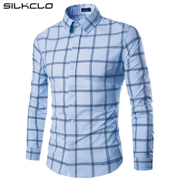 Atacado-Marca de moda de algodão xadrez homens camisa Casual de manga comprida Slim Fit Design de negócios de alta qualidade masculino camisas de vestido Plus Size XXL