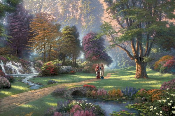 Thomas Kinkade Landscape Oil Painting Reproduction High Quality Giclee Print on Canvas Modern Home Art Decor TK023