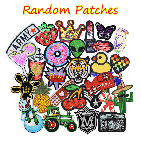 top popular 10 PCS Random Patches for Clothing Iron on Transfer Applique Patch for Bags Jeans DIY Sew on Embroidery Stickers 2021