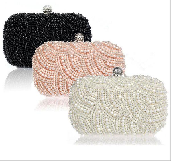 Damen Clutch Bag Fashion Perle Perlen Party Braut Handtasche Hochzeit Abend Handtasche