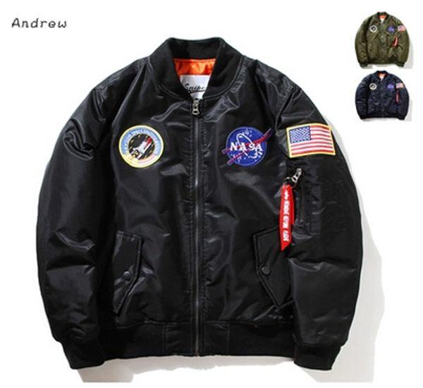 best selling NASA Mens MA1 Bomber Jacket Insignia USAF Kanye West Hip Hop Sport Male Windbreaker Jacket Flag Mens Spring Thin section Jacket XXXXL