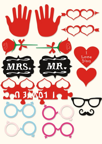 1set 18pcs Valentine's Day party Photo Props Moustache Hat Small Eyes Paper Beard Wedding Party Supplies Bachelorette Party Photo Booth new