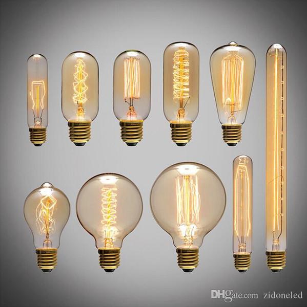 American Vintage Edison Light Bulbs Fuente de luz de alambre de tungsteno Luces colgantes 110V 220V E27 Soporte de lámpara de latón Bombillas incandescentes