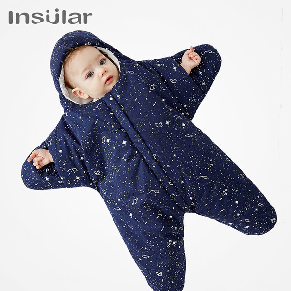 best selling Insular 100% Cotton Baby Sleeping Bag Starfish Cartoon Baby Cotton Swaddle Winter Newborn Cotton Swaddle