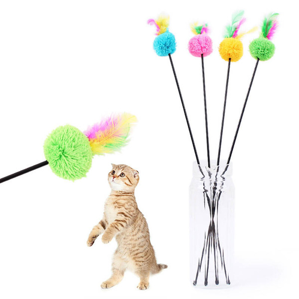 Funny Pet Cat Toy Rod Faux Rabbit Feather Kitten Bell Toy Fun Playing Colorful Cat Stick Pet Products Animal Show Funny Cat stick