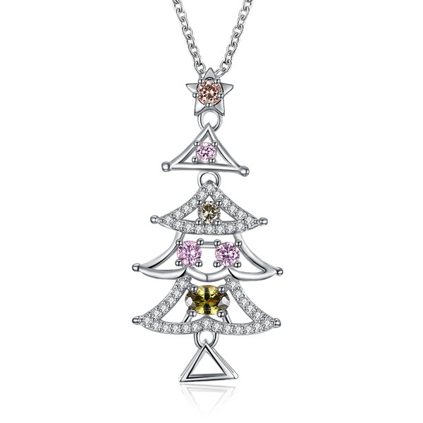 Christmas Series Colorful Cz Zirconia Necklace Two-color (Rose Gold Platinum) Christmas Tree Jewelry Women Girl Xmas Jewelry Party Gifts
