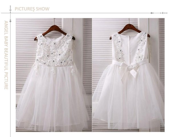 Real Photos Ball Gown Tulle Diamond Flower Girl Dresses For Weddings 2015 First Communion Dresses Pageant Dresses Free Shipping