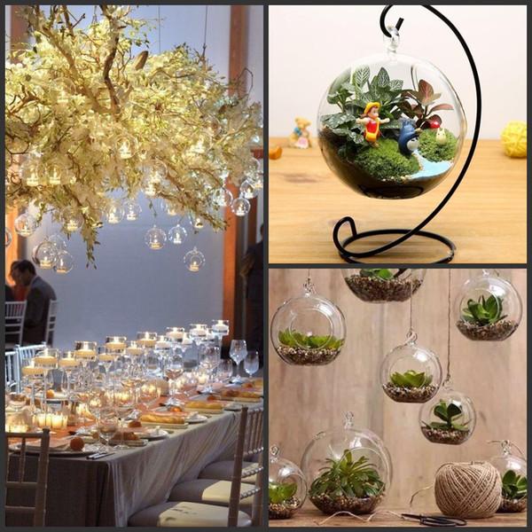 8CM 10cm 12cm 15cm Clear Hanging Glass Vase Succulent Air Planter Terrariums wedding Tealight Holders For Wedding Decor Home Decor