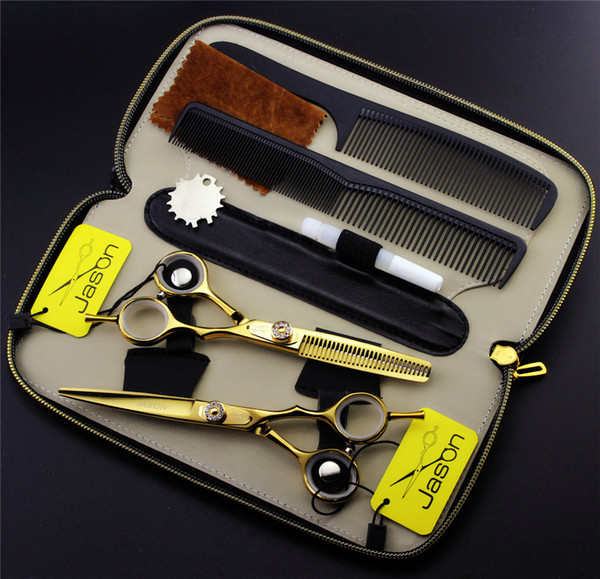 Wholesale-5.5 or 6.0 inch Professional Hairdressing Scissors Set Hair Cutting + Thinning Barber Shears +Combs+Kits Japan 440C High Quality
