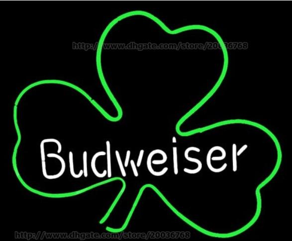 "Budweiser Irish Whiskey Shamrock Neon Sign Disco KTV Display Handcrafted Real Glass Tube Neon Light Sign Beerbar Sign Neon Beer Sign 24""x20"""