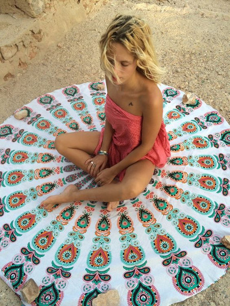 top popular 2017 New Round Beach Blanket Tapestry Hippy Boho Gypsy Cotton Tablecloth Beach Towel Round Yoga Mat Free Shipping 2021