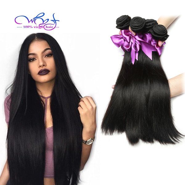 8A Grade Natural Black Color Lange Gerade Haarverlängerungen 100% Virgin Human Hair Extensions 4 Bundles