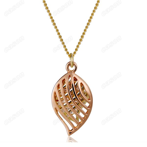 Brand Cason Women Fashion Jewelry Beautiful golden leaves Crystal Pendant Necklaces 18K Gold Plated Golden Colour Drop Shipping NJ-0027
