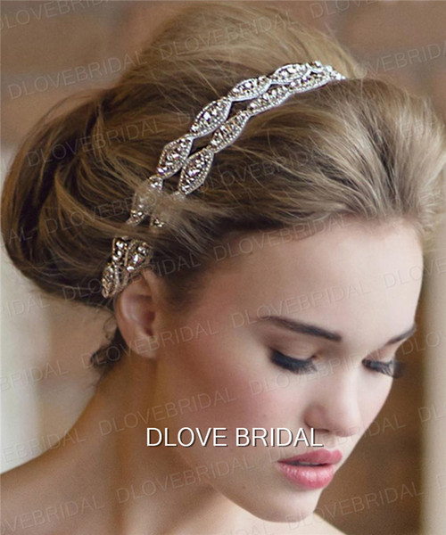 Elegant Hairband Rhinestone Bridal Wedding Headbands Two Row Crystal Ribbon Tie Backs Prom Party Hair Accessory Real Photo Free Shipping